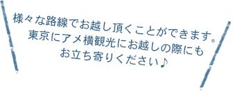 様々な路線でお越し頂くことができます。東京にアメ横観光にお越しの際にもお立ち寄りください♪